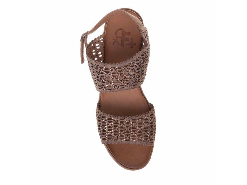 La Femme Plus sleehak sandalen suede bruin met steentjes