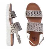 La Femme Plus sandalen suede taupe met steentjes