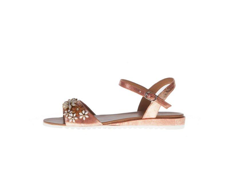 La Femme Plus sandalen leder metallic zalm roze