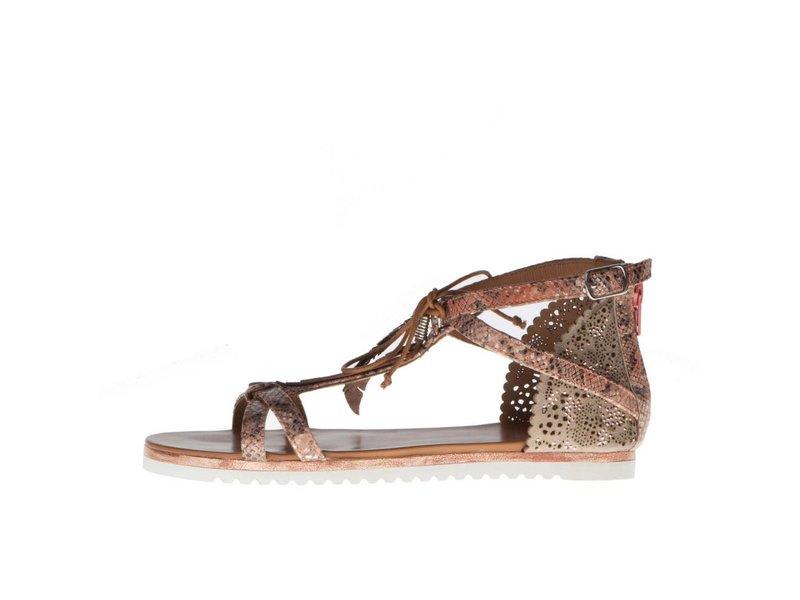 La Femme Plus sandalen suede python zalm