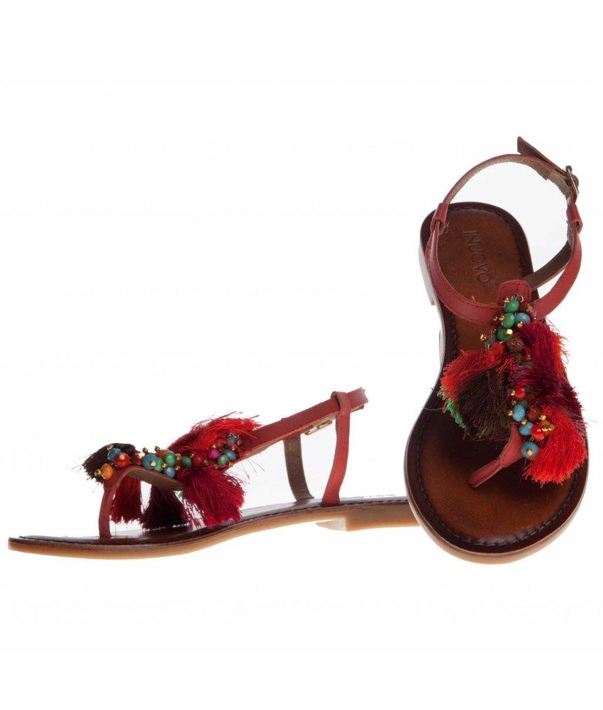 INUOVO sandalen leder  rood met kwastjes