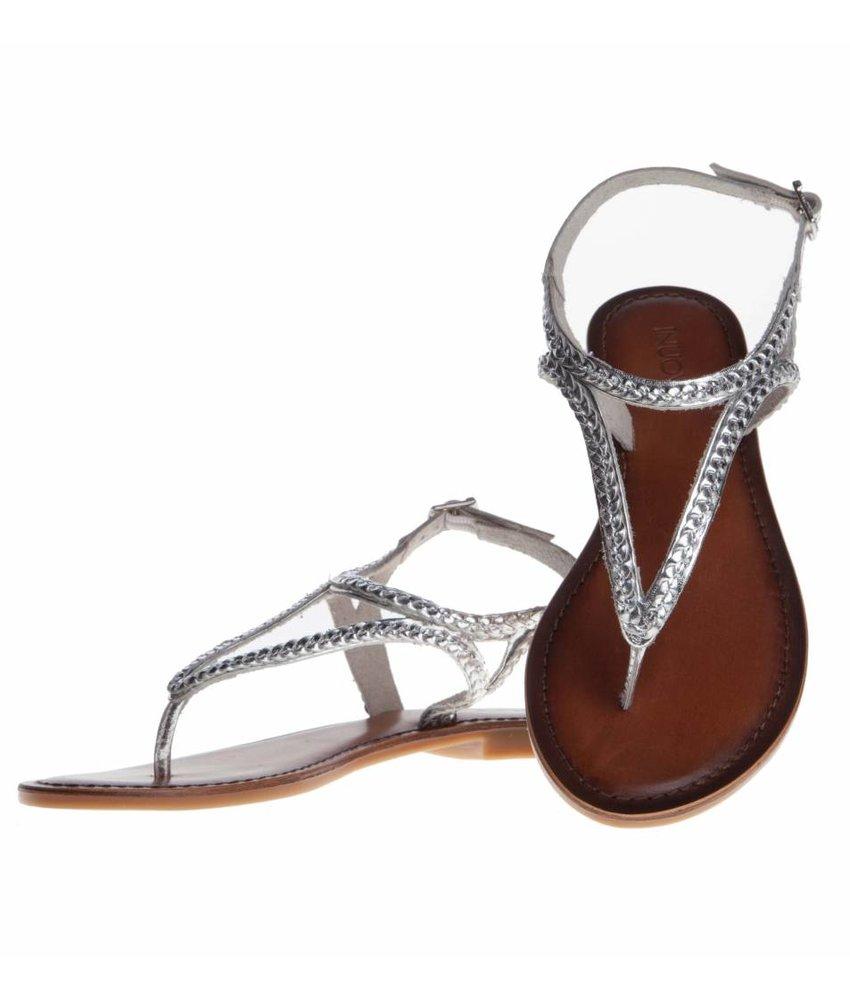 INUOVO sandalen leder zilver