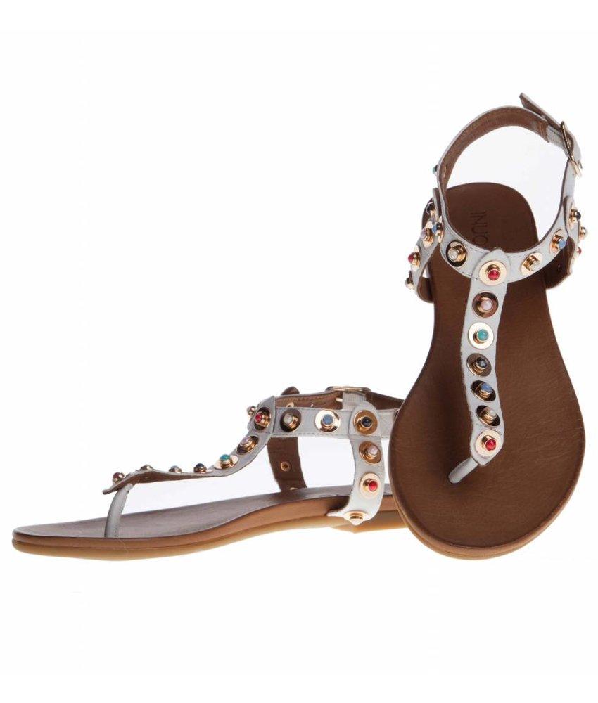 INUOVO sandalen leder wit met studs