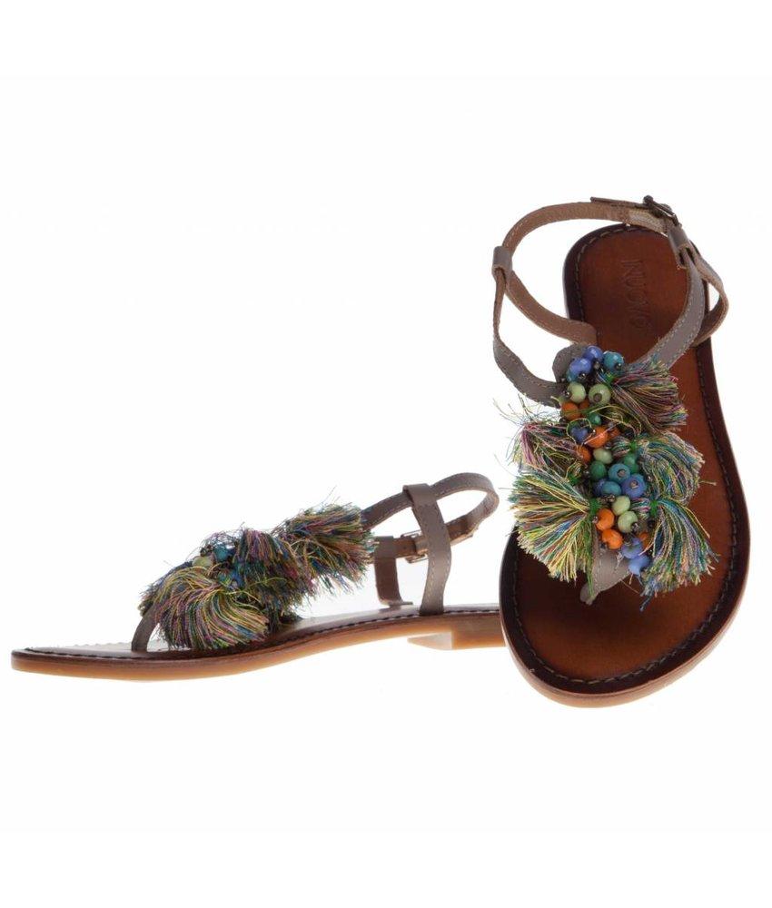 INUOVO sandalen leder grijs kwastjes