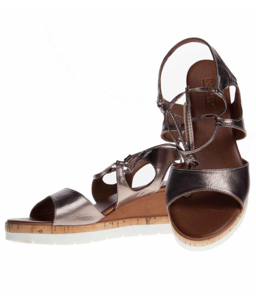 INUOVO sleehak sandalen leder pewter