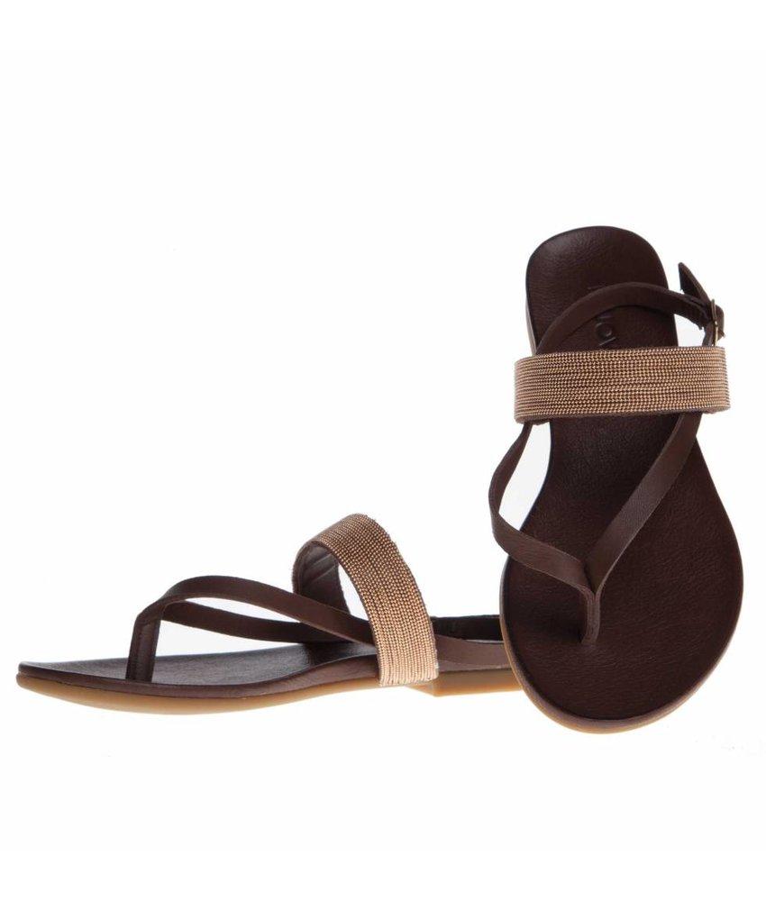 INUOVO sandalen leder bruin