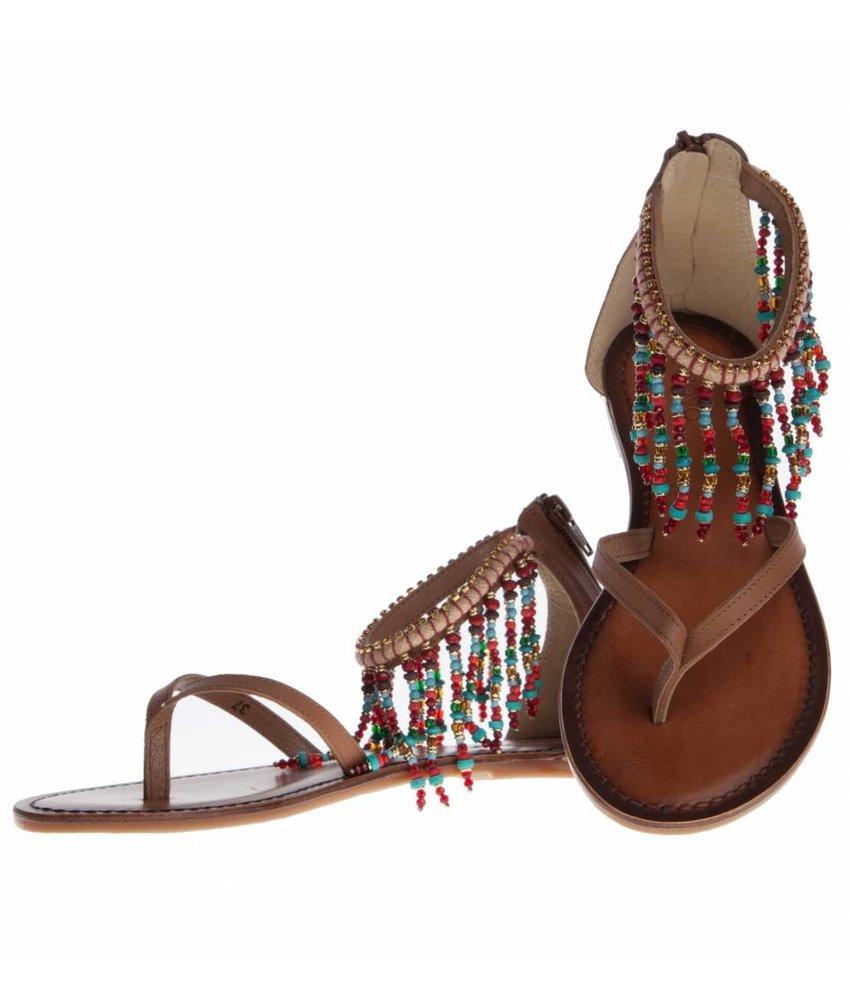 INUOVO sandalen leder bruin coconut