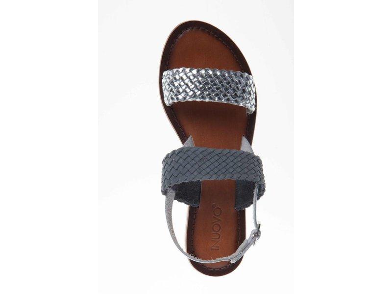 INUOVO sandalen leder zilver blauw