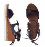 INUOVO sleehak sandalen leder blauw