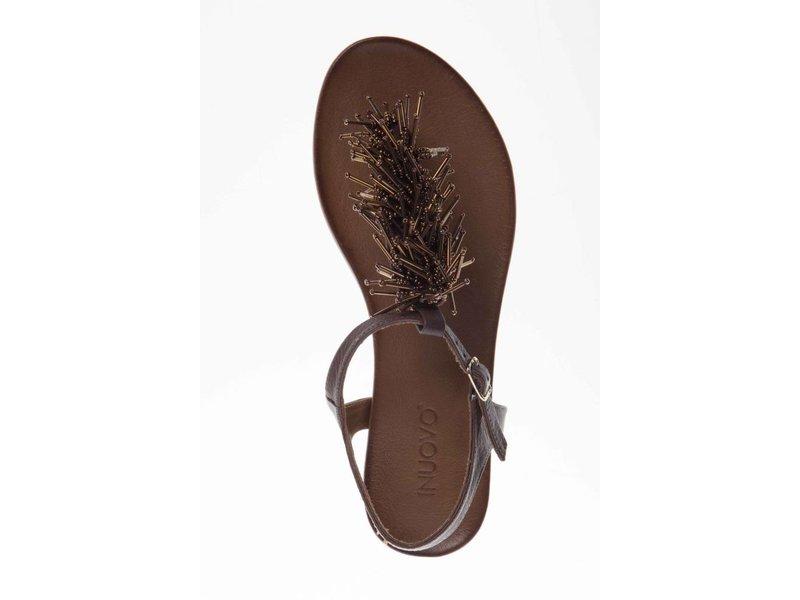 INUOVO sandalen leder zwart bruin