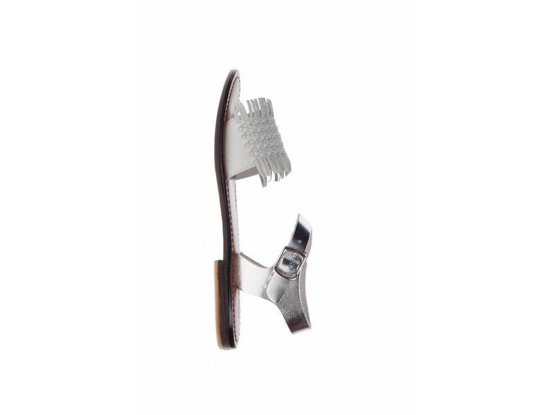 INUOVO sandalen leder wit en zilver