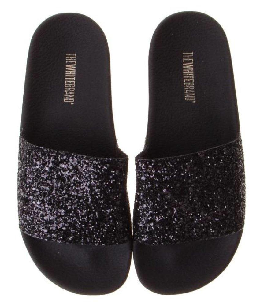 The White Brand slippers zwart glitter meisjes