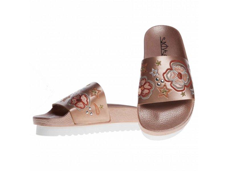SIXTYSEVEN slippers geborduurd rose goud