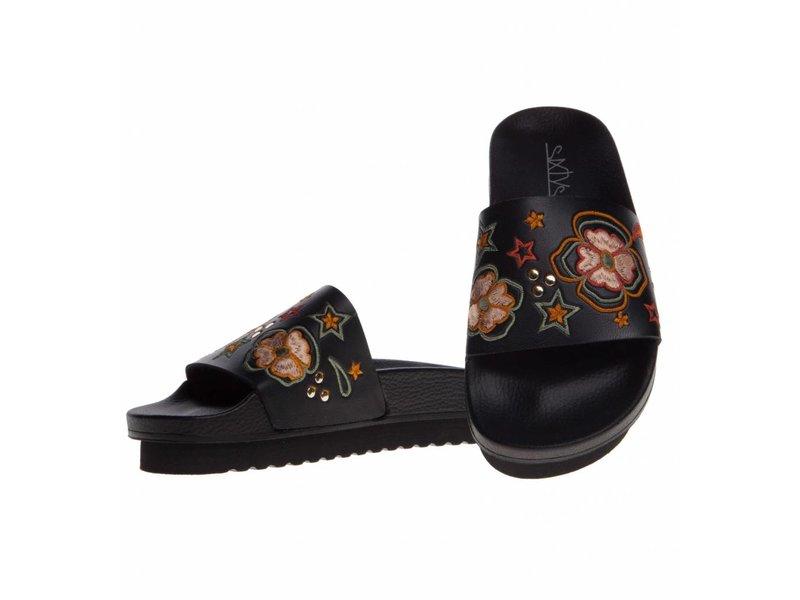 SIXTYSEVEN slippers geborduurd zwart