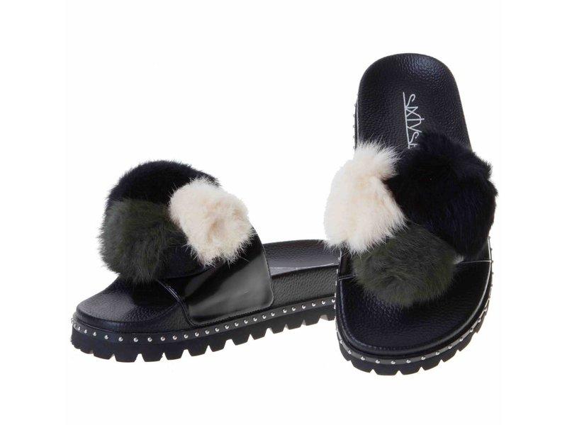SIXTYSEVEN slippers pompom zwart/khaky