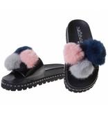 SIXTYSEVEN slippers pompom zwart/navy