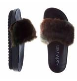 SIXTYSEVEN slippers fur khaky