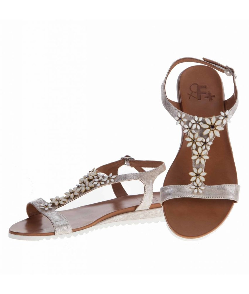 La Femme Plus sandalen goud bloemen
