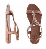 La Femme Plus sandalen metallic zalm bloemen