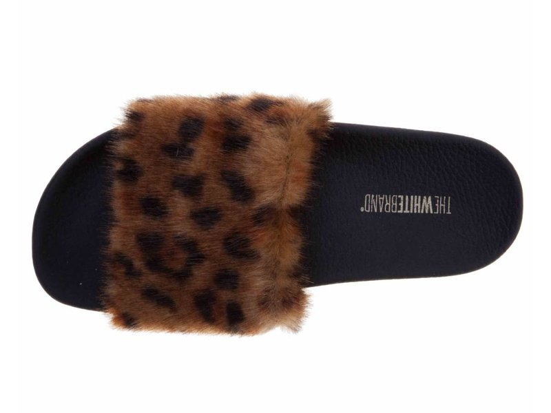 The White Brand slippers fur leopard