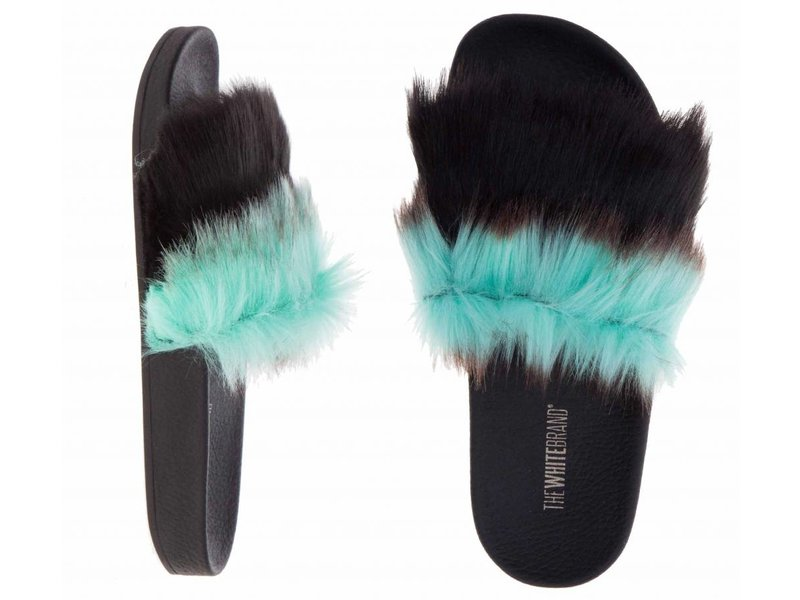 The White Brand slippers mint fur