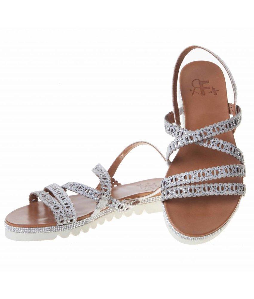 La Femme Plus sandalen suede met steentjes