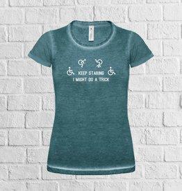 Keep staring rolstoel t-shirt - Green Clash