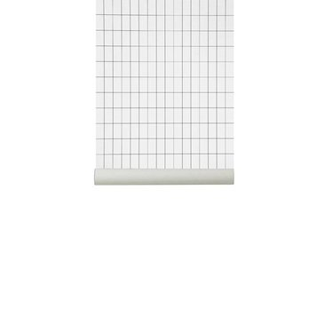 Ferm Living Behang Grid black-white (WallSmart)