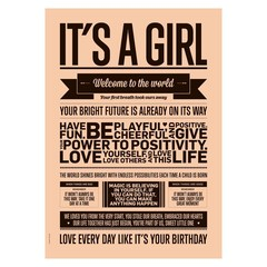 I Love My Type poster It's a girl perzik A3
