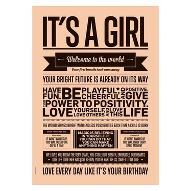 I Love My Type poster It's a girl, peach A3