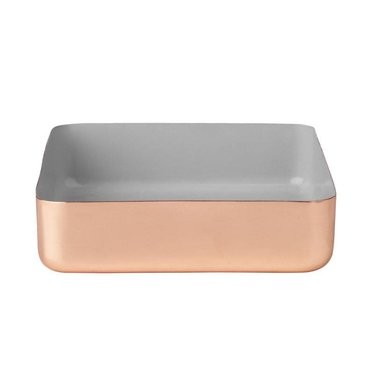 Louise Roe Metal tray square size L copper-grey