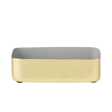 Louise Roe Metal tray rechthoekig maat M messing-grijs