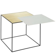 By Lassen side table Twin brass-misty green