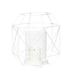 Hubsch metal wire lantern - white