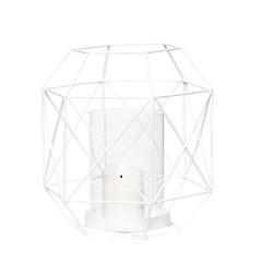 Hubsch metal wire lantern - white