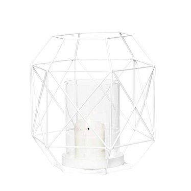 Hubsch White metal lantern with candle holder - 16x18 cm