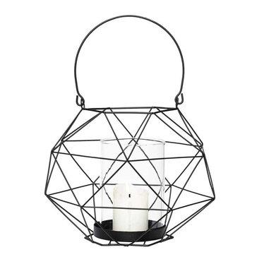 Hubsch Black metal wire lantern  - 20x15 cm