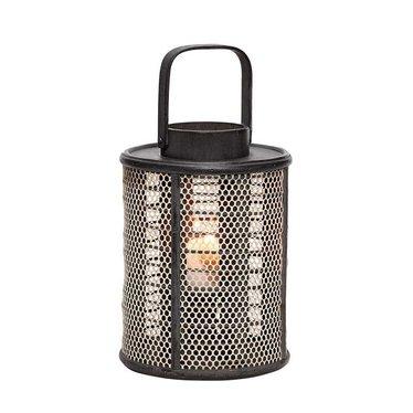 Hubsch Black wooden lantern with mesh