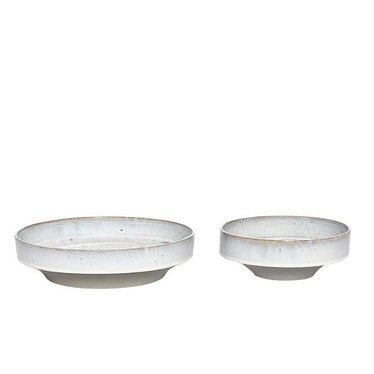 Hubsch Light gray glazed dishes - 2 pieces