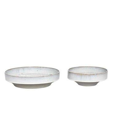 Hubsch Light gray glazed dishes - 2 pieces