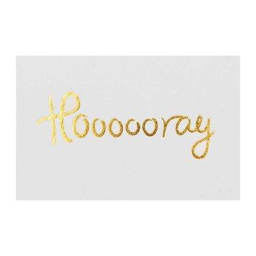 I Love My Type mini card / gift tag Hoooooray (pakje van 8)