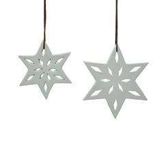 Hubsch Kerststerren grijs keramiek - 2 stuks