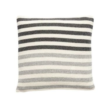 Hubsch Knitted lambswool cushion with stripes dark gray-light gray-off-white