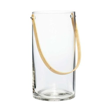 Hubsch Glass vase / lantern with bamboo handle
