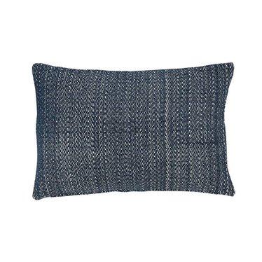 Hubsch Pillow blue-white woven