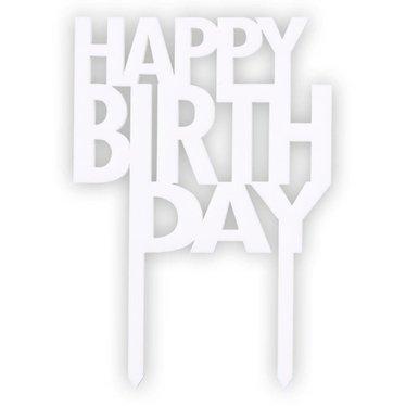 Felius taartsteker Happy Birthday wit