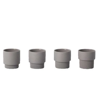 Ferm Living Espressokopjes Groove grijs - set van 4