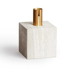 New Works candleholder Block - Light Fossil Marble