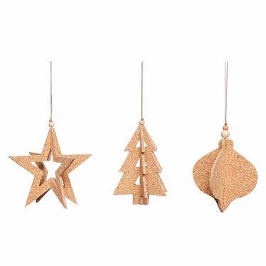 Hubsch Cork Christmas ornament-set of 3