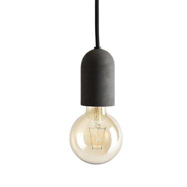Tove Adman E27 lampje grafietgrijs beton met zwart textielsnoer